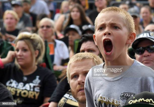 Vegas Golden Knights fan Andrew Kennedy of Nevada reacts during a Golden Knights road game watch party for Game Three of the 2018 NHL Stanley Cup...