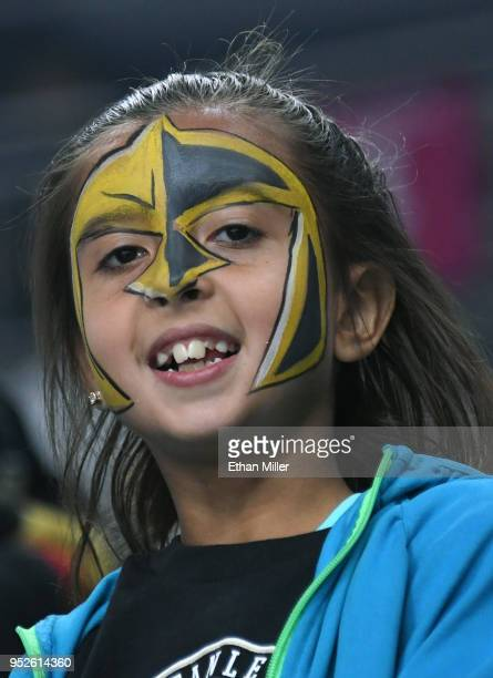 Vegas Golden Knights fan Brianna Glaude of Nevada wears face paint before Game Two of the Western Conference Second Round between the San Jose Sharks...