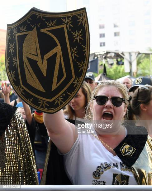Vegas Golden Knights fan Gina Eggert of Nevada cheers during a Golden Knights road game watch party for Game Three of the 2018 NHL Stanley Cup Final...