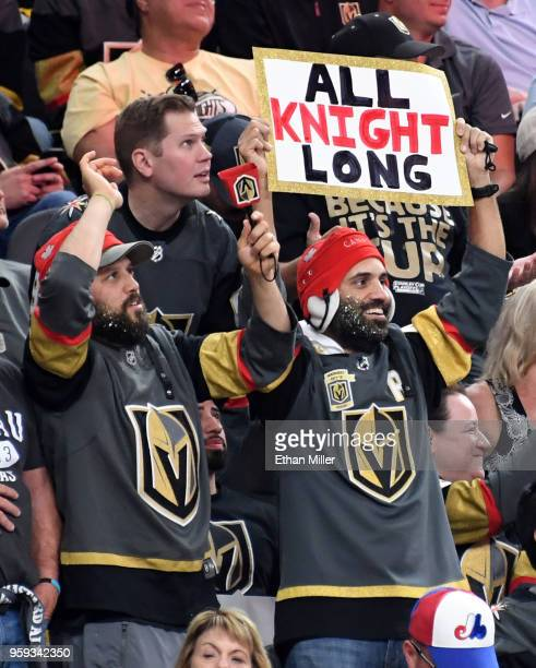 Vegas Golden Knights fan holds up a sign as the Lionel Richie song All Night Long is played in the arena in the second period of Game Three of the...