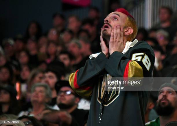 Vegas Golden Knights fan Jay BryantChavez of Nevada reacts after Tom Wilson of the Washington Capitals scored a firstperiod goal against the Vegas...