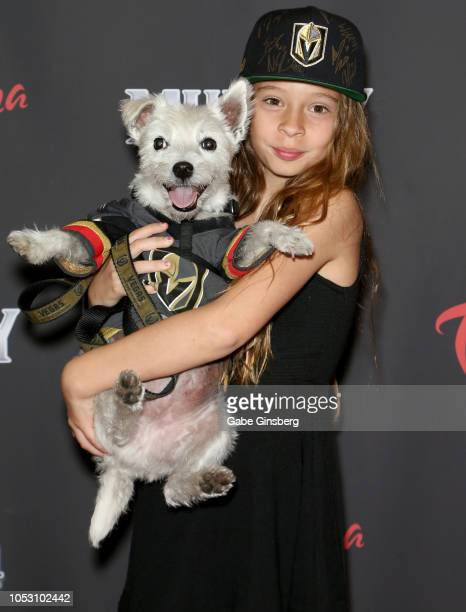 Vegas Golden Knights fan Logan Sokoloski dubbed The Girl with the Hat by Golden Knights goaltender MarcAndre Fleury holds BarkAndre Furry a Jack...
