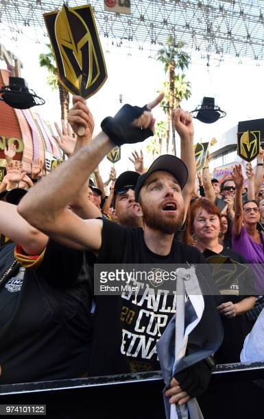 Vegas Golden Knights fan Matt Helfst of Nevada cheers during the team's 'Stick Salute to Vegas and Our Fans' event at the Fremont Street Experience...