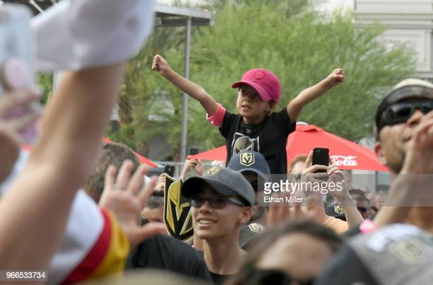 Vegas Golden Knights fan reacts as rapper Lil Jon performs during a Golden Knights road game watch party for Game Three of the 2018 NHL Stanley Cup...