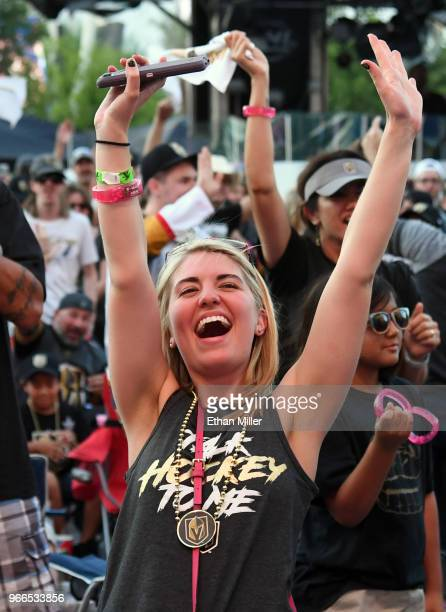 Vegas Golden Knights fan Taylor Fleming of North Carolina reacts after Tomas Nosek of the Golden Knights scored a thirdperiod goal against the...