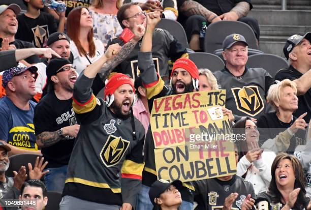 Vegas Golden Knights fans cheer in the second period of the team's game against the Philadelphia Flyers at TMobile Arena on October 04 2018 in Las...