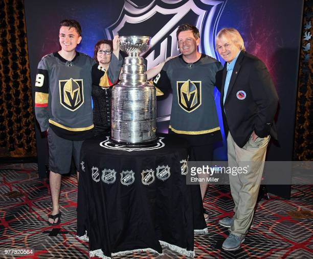 Vegas Golden Knights fans Jaedon Soulia Marci Soulia and Andy Soulia all of Nevada and Keeper of the Cup for the Hockey Hall of Fame Phil Pritchard...