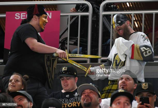 Vegas Golden Knights fans joke around during a Golden Knights road game watch party for Game Four of the 2018 NHL Stanley Cup Final between the...
