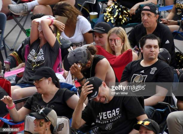 Vegas Golden Knights fans react after Evgeny Kuznetsov of the Washington Capitals scored a secondperiod goal against the Golden Knights during a...
