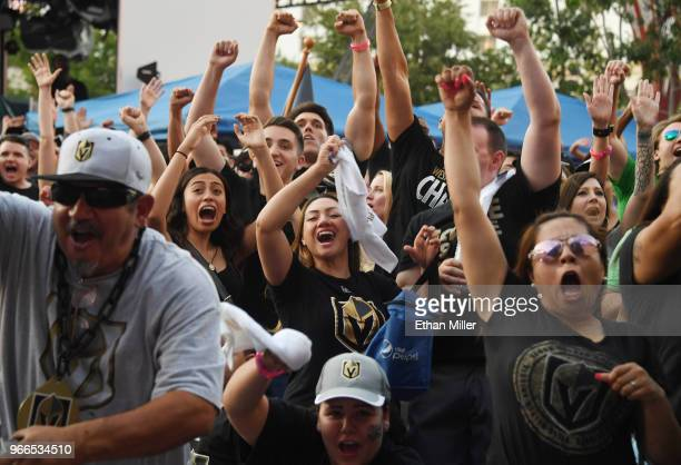 Vegas Golden Knights fans react after Tomas Nosek of the Golden Knights scored a thirdperiod goal against the Washington Capitals at a Golden Knights...