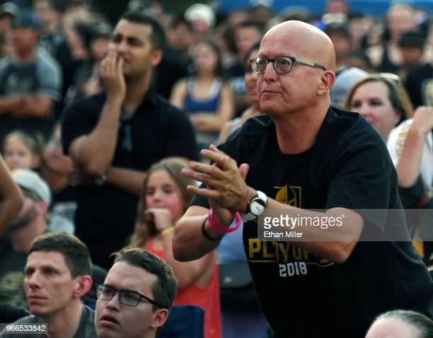 Vegas Golden Knights fans react during a Golden Knights road game watch party for Game Three of the 2018 NHL Stanley Cup Final between the Washington...