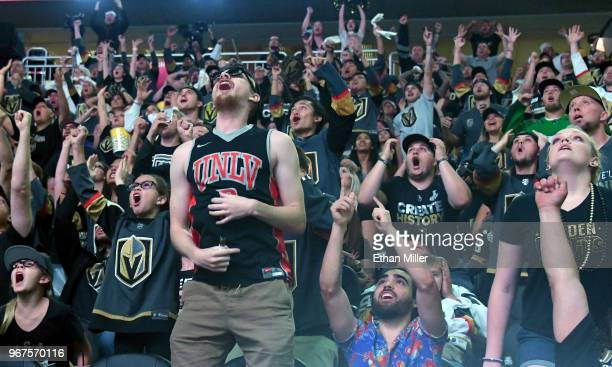 Vegas Golden Knights fans react during a Golden Knights road game watch party for Game Four of the 2018 NHL Stanley Cup Final between the Golden...