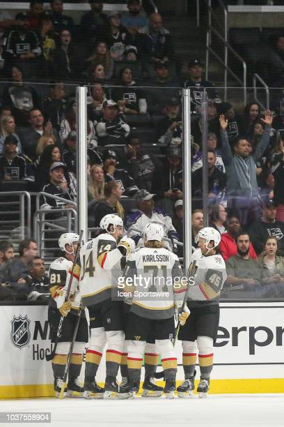Vegas Golden Knights forward Jonathan Marchessault scores his second goal of the game in the 2nd period during a preseason NHL game between the Vegas...