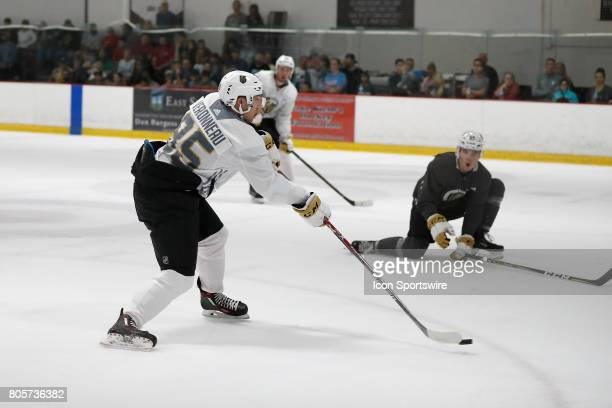Vegas Golden Knights Forward Max Veronneau takes a shot during a joint scrimmage at the Vegas Golden Knights Development Camp on July 1 2017 at the...