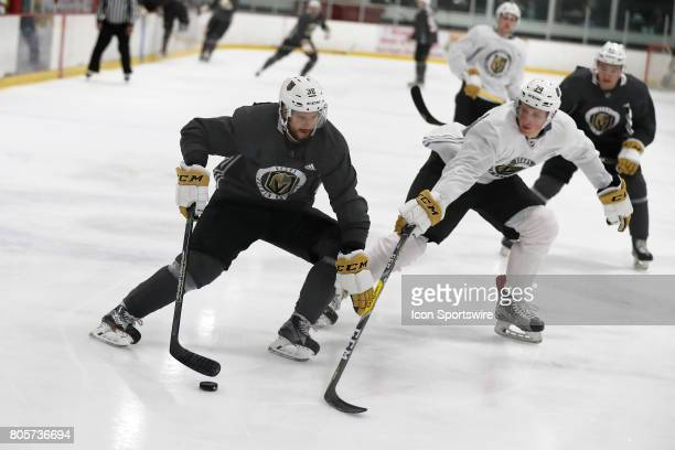 Vegas Golden Knights Forward Tomas Hyka controls the puck during a joint scrimmage at the Vegas Golden Knights Development Camp on July 1 2017 at the...