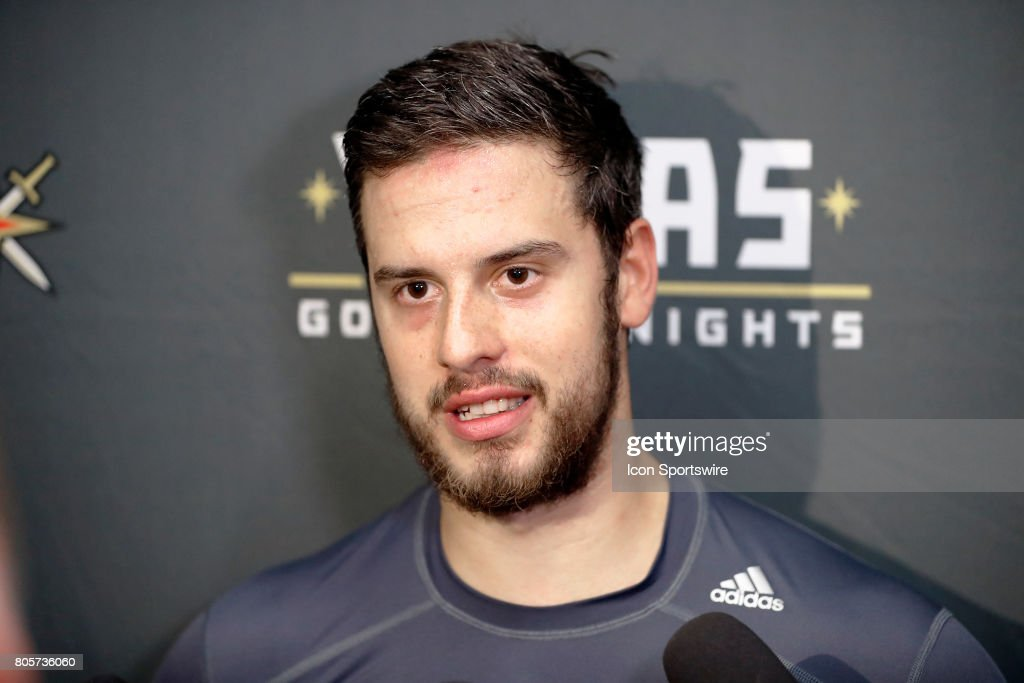Vegas Golden Knights Forward Tomas Hyka (38) speaks to the media after a joint scrimmage at the Vegas Golden Knights Development Camp on July 1, 2017 at the Las Vegas Ice Center in Las Vegas, Nevada.