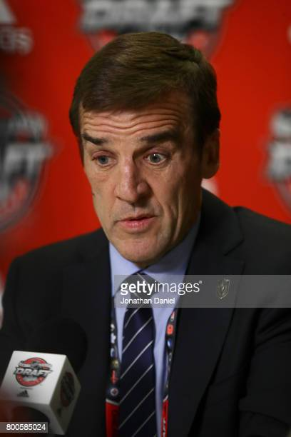 Vegas Golden Knights general manager George McPhee speaks to the media after the 2017 NHL Draft at the United Center on June 24 2017 in Chicago...