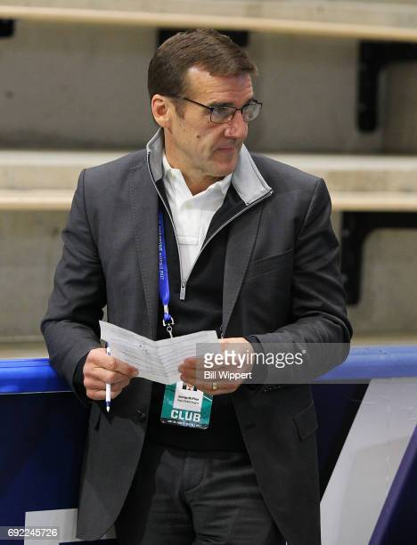 Vegas Golden Knights general manager George McPhee watches prospects during the NHL Combine at HarborCenter on June 3 2017 in Buffalo New York