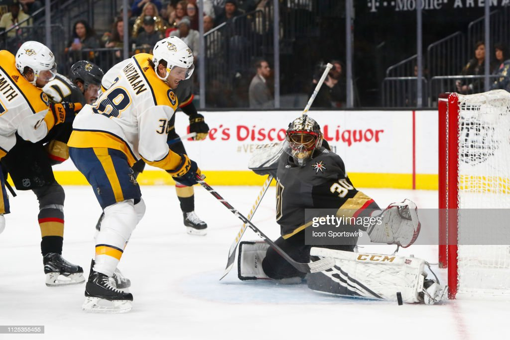 Vegas Golden Knights Goalie Malcolm Subban Makes A Kick Save Against