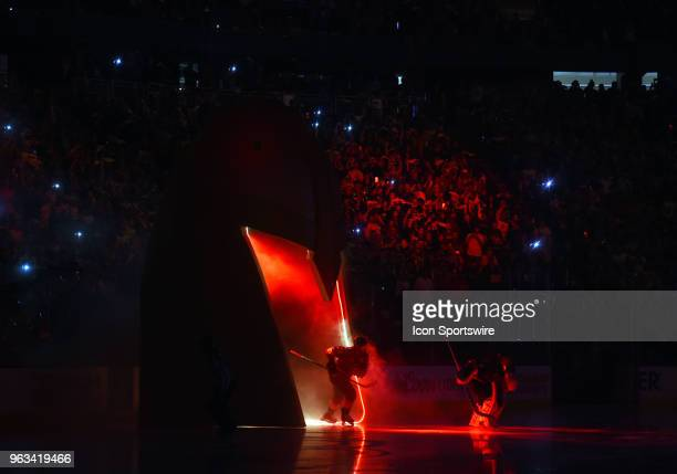 Vegas Golden Knights Goalie MarcAndre Fleury and Vegas Golden Knights Right Wing James Neal lead the team on to the ice during game 1 of the Stanley...