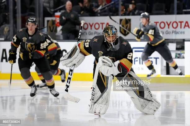 Vegas Golden Knights Goalie MarcAndre Fleury leads the team back out on to the ice for the 3rd period during the game between the Vegas Golden...