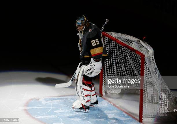 Vegas Golden Knights goalie MarcAndre Fleury looks on during the first period of a regular season NHL game between the Pittsburgh Penguins and the...