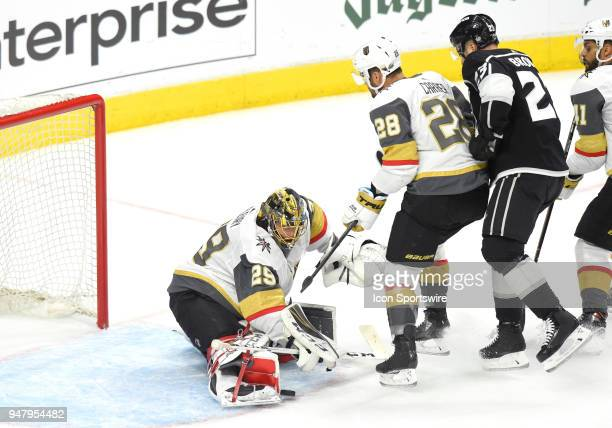 Vegas Golden Knights Goalie MarcAndre Fleury makes a save on a shot by Los Angeles Kings Right Wing Dustin Brown during game 4 of the first round of...