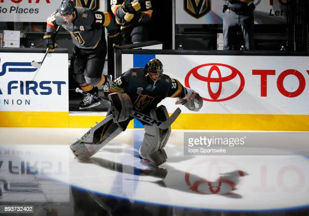 Vegas Golden Knights goalie MarcAndre Fleury takes to the ice during the first period of a regular season NHL game between the Pittsburgh Penguins...