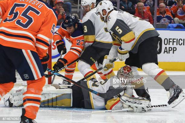 Vegas Golden Knights Goalie Maxime Lagace cant keep the puck out of the net during the Edmonton Oilers game versus the Las Vegas Golden Knights at...