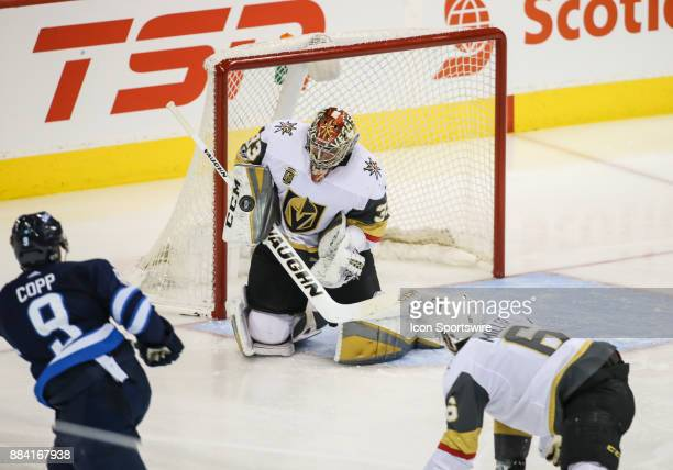 Vegas Golden Knights goalie Maxime Lagace makes a save on a shot by Winnipeg Jets forward Andrew Copp during the NHL game between the Winnipeg Jets...