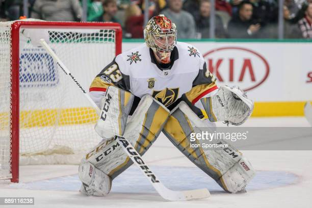 Vegas Golden Knights Goalie Maxime Lagace stands at the net during the game between the Dallas Stars and Vegas Golden Knights on December 9 2017 at...