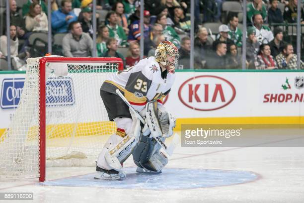 Vegas Golden Knights Goalie Maxime Lagace stands ready during the game between the Dallas Stars and Vegas Golden Knights on December 9 2017 at the...