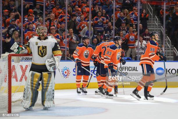 Vegas Golden Knights Goalie Maxime Lagace takes a break while the Edmonton Oilers celebrate a 7th goal during the Edmonton Oilers game versus the Las...