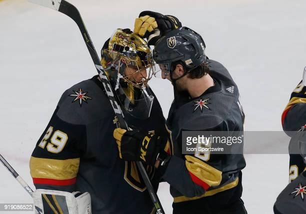 Vegas Golden Knights goaltender MarcAndre Fleury and Vegas Golden Knights defenseman Colin Miller bump their helmets after defeating the Edmonton...