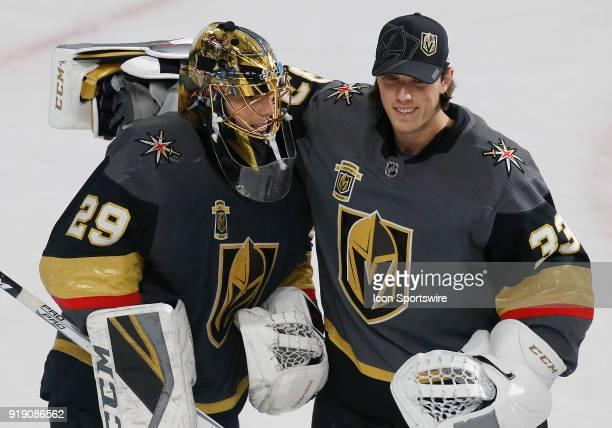 Vegas Golden Knights goaltender MarcAndre Fleury and Vegas Golden Knights goaltender Maxime Lagace hug each other after defeating the Edmonton Oilers...