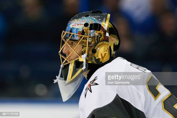Vegas Golden Knights goaltender MarcAndre Fleury in the second period of the NHL game between the Vegas Golden Knights and Tampa Bay Lightning on...