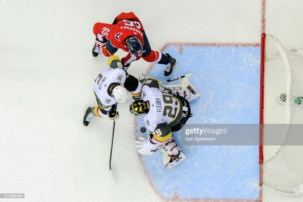 Vegas Golden Knights goaltender Marc-Andre Fleury (29) makes a save on second period shot by Washington Capitals left wing Andre Burakovsky (65) on February 4, 2018, at the Capital One Arena in Washington, D.C. The Vegas Golden Knights defeated the Washington Capitals, 4-3.