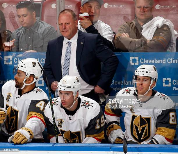 Vegas Golden Knights Head Coach Gerard Gallant directs his team from the bench against the Florida Panthers at the BBT Center on January 19 2018 in...