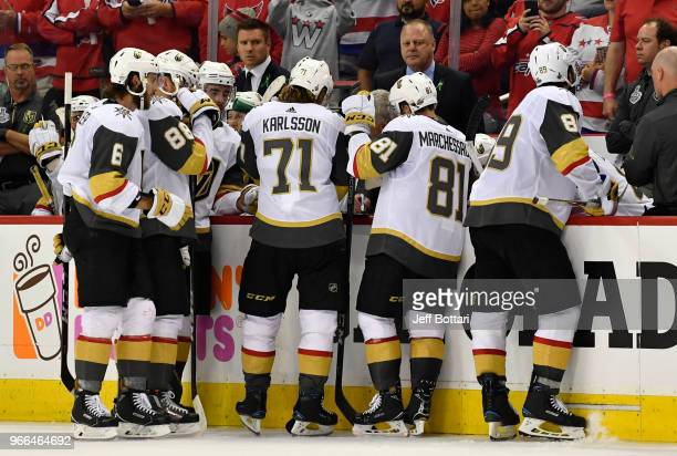 Vegas Golden Knights head coach Gerard Gallant talks with his team during a timeout against the Washington Capitals in Game Three of the Stanley Cup...