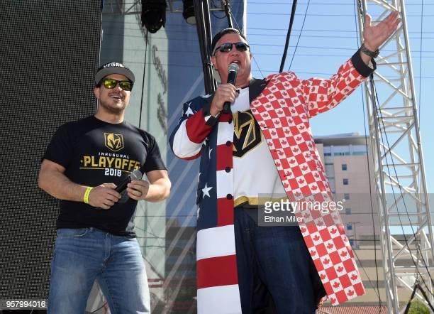 Vegas Golden Knights host Mark Shunock and the D Las Vegas CEO Derek Stevens speak during a Vegas Golden Knights road game watch party at the...