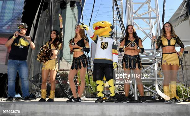 Vegas Golden Knights host Mark Shunock the Golden Knights mascot Chance the Golden Gila Monster members of the Knights Crew and members of the Vegas...