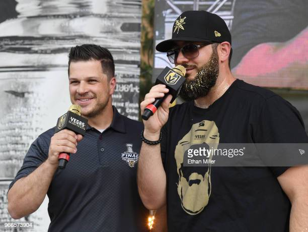 Vegas Golden Knights hosts Mark Shunock and Wayne Big D Danielson speak at a Golden Knights road game watch party for Game Three of the 2018 NHL...