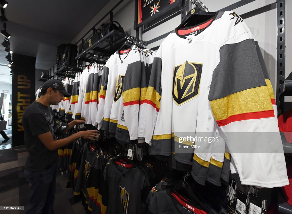 the best attitude 83ec3 cdb6f Vegas Golden Knights jerseys are displayed at the Arsenal ...