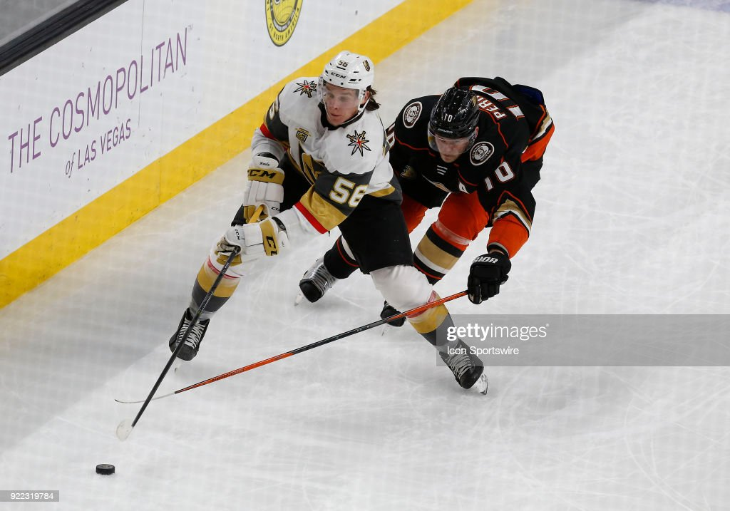 Vegas Golden Knights left wing Erik Haula (56) and Anaheim Ducks right wing Corey Perry (10) battle for control of the puck during the second period of a regular season NHL game between the Anaheim Ducks and the Vegas Golden Knights at T-Mobile Arena Monday, Feb. 19, 2018, in Las Vegas, Nevada. The Anaheim Ducks would defeat the Vegas Golden Knights 2-0.