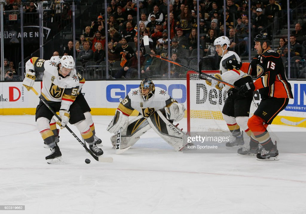Vegas Golden Knights left wing Erik Haula (56) clears the puck during the first period of a regular season NHL game between the Anaheim Ducks and the Vegas Golden Knights at T-Mobile Arena Monday, Feb. 19, 2018, in Las Vegas, Nevada. The Anaheim Ducks would defeat the Vegas Golden Knights 2-0.