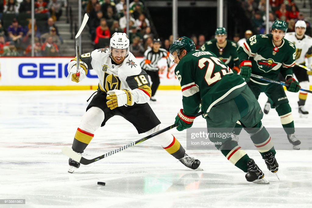 NHL: FEB 02 Golden Knights at Wild : News Photo