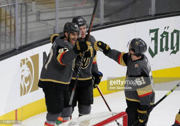 Vegas Golden Knights left wing Max Pacioretty celebrates with center Paul Stastny and Vegas Golden Knights right wing Mark Stone after scoring a goal...