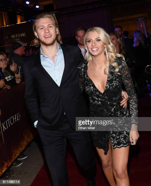 Vegas Golden Knights player William Karlsson and Emily Ferguson attend the grand opening of the firstever Gordon Ramsay HELL'S KITCHEN restaurant at...