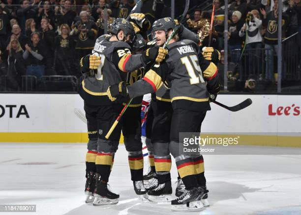 Vegas Golden Knights players celebrate after a goal during the third period against the Montreal Canadiens at TMobile Arena on October 31 2019 in Las...