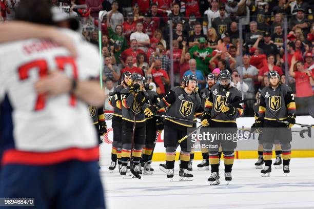 Vegas Golden Knights players react after their loss to the Washington Capitals in Game Five of the Stanley Cup Final during the 2018 NHL Stanley Cup...